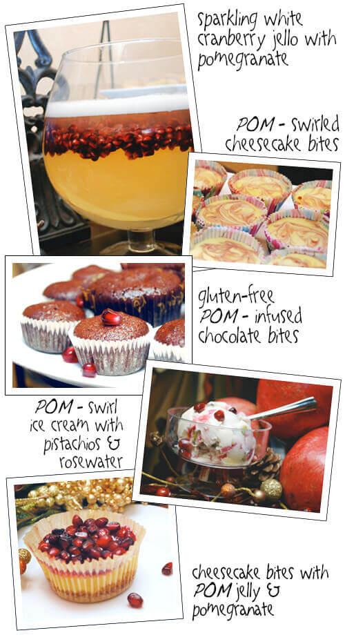 Pomegranate Recipes from My Very Special POM Party by FamilySpice.com