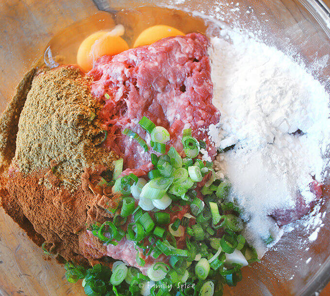 Ingredients for Lamb Meatballs with Tomato Pomegranate Sauce by FamilySpice.com