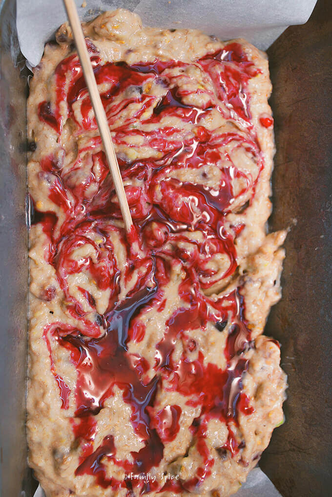 Adding swirls to Pomegranate Pistachio Banana Bread by FamilySpice.com