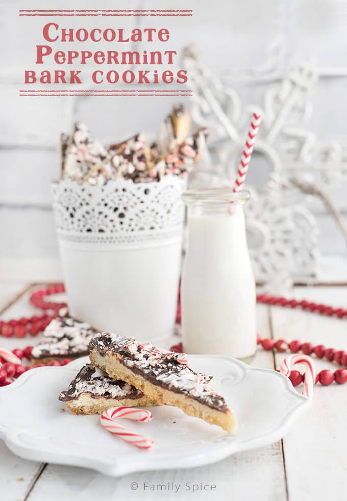 Chocolate Peppermint Bark Cookies by FamilySpice.com