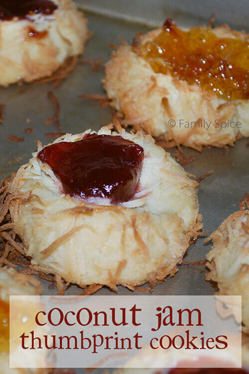 Coconut Jam Thumbprint Cookies by FamilySpice.com