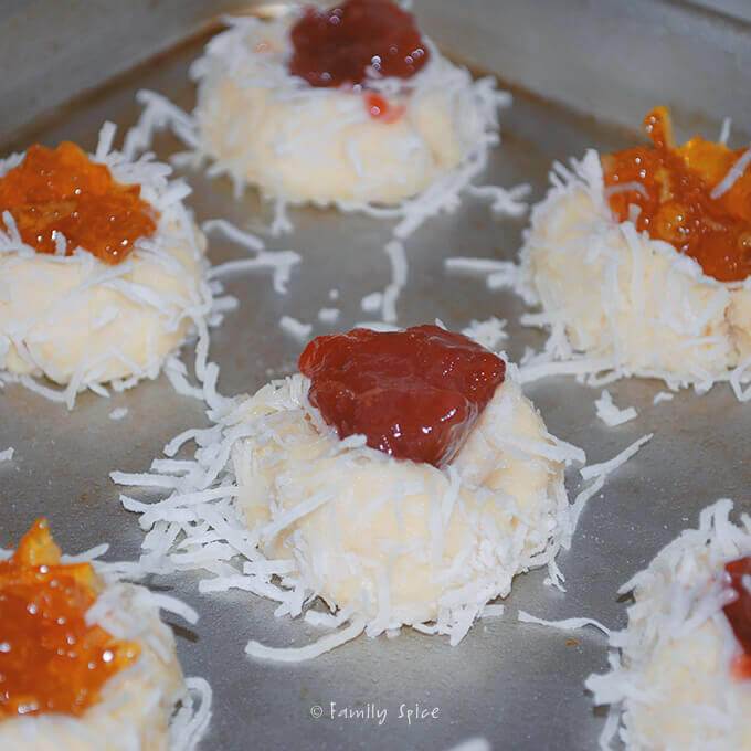 Ready to bake Coconut Jam Thumbprint Cookies by FamilySpice.com