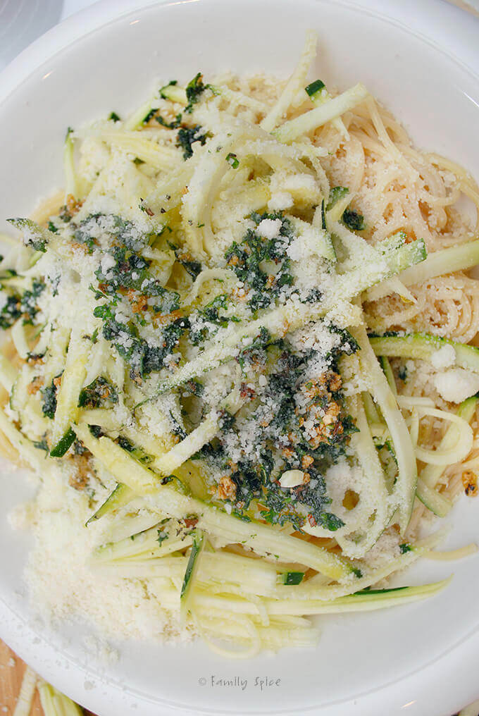 Ready to toss Pasta with Zucchini, Garlic and Olive Oil by FamilySpice.com