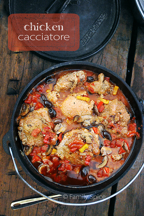 Dutch Oven Recipes: Campfire Chicken Cacciatore by FamilySpice.com