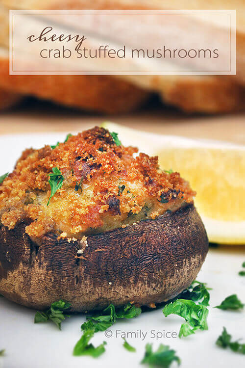 Cheesy Crab Stuffed Mushrooms and the Incredible, Edible Container by FamilySpice.com