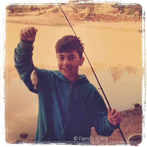 My boy finally catches his fish - by FamilySpice.com