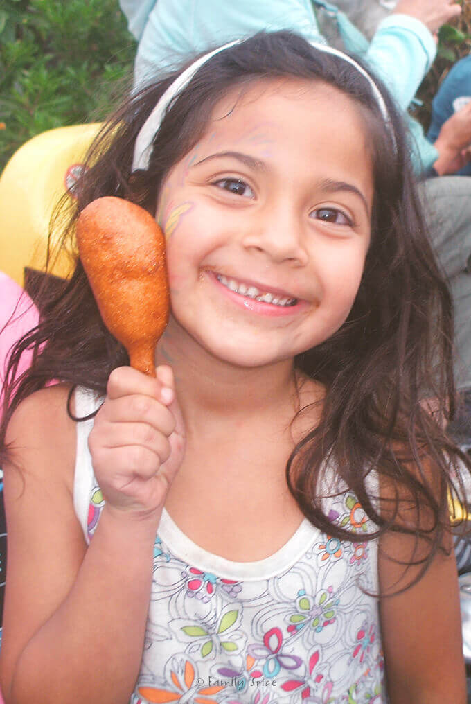 Enjoying a Corn Dog at the Del Mar Fair by FamilySpice.com
