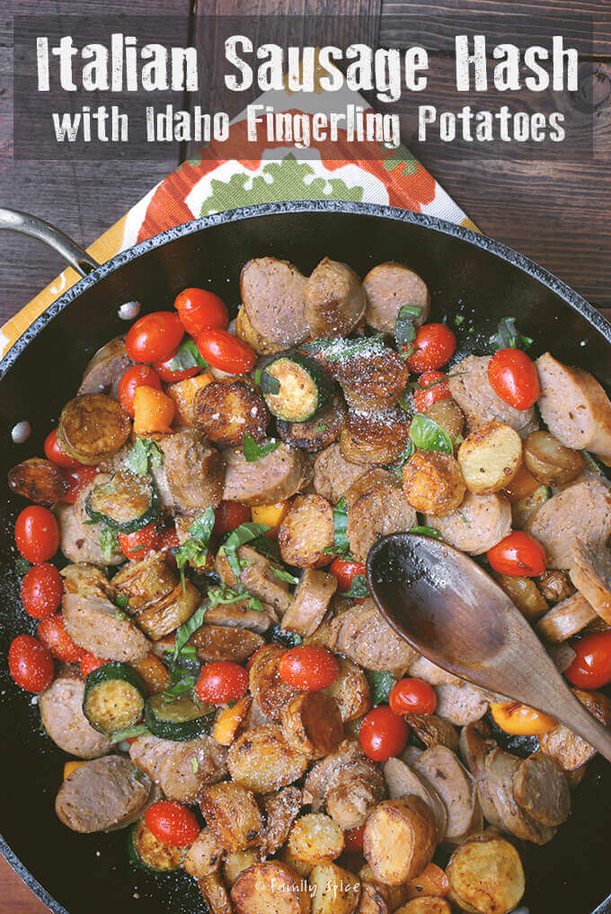 Italian Sausage Hash with Idaho Fingerling Potatoes by FamilySpice.com