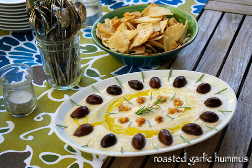 Roasted Garlic Hummus by FamilySpice.com