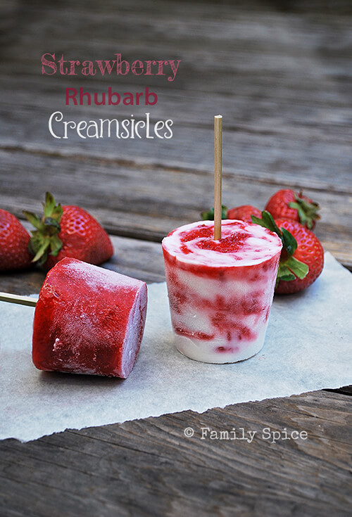 Strawberry-Rhubarb Creamsicles by FamilySpice.com