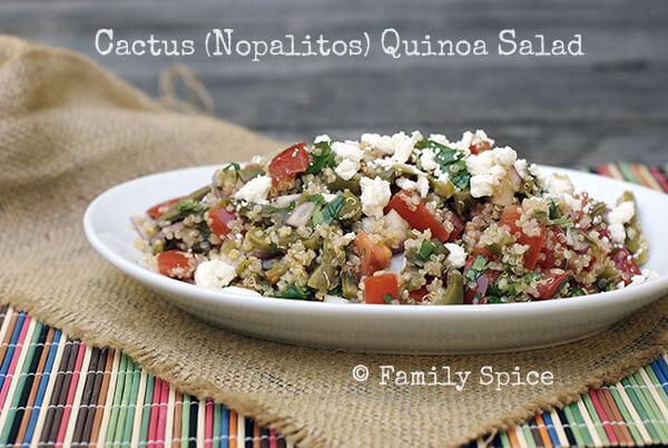 Cactus (Nopalitos) Quinoa Salad by FamilySpice.com