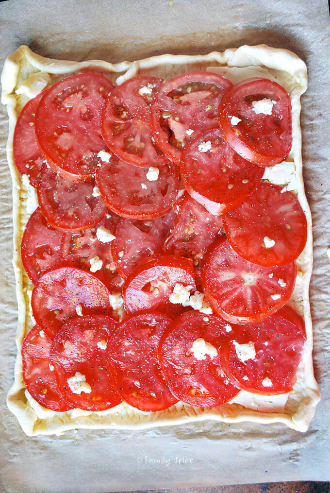 Tomato Brie Tart Assembled by FamilySpice.com