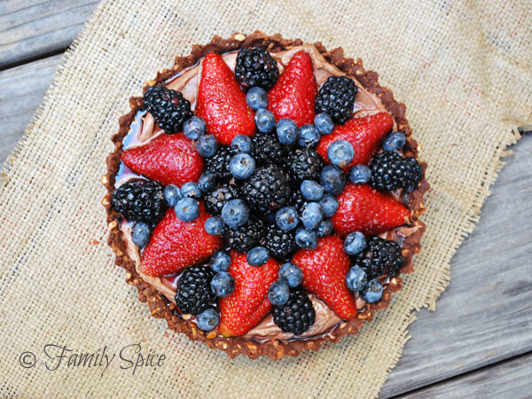 Chocolate Pretzel Crusted, Berry Laden Nutella Pie by FamilySpice.com
