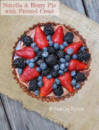 Nutella & Berry Pie with Pretzel Crust by FamilySpice.com
