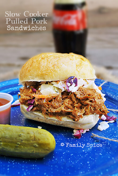 Slow Cooker Pulled Pork Sandwiches by FamilySpice.com
