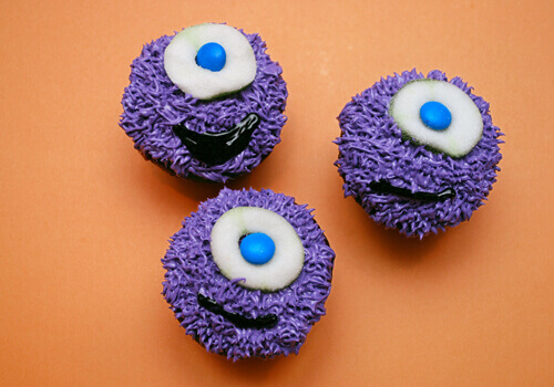 One-Eyed Purple Monster Cupcakes by FamilySpice.com