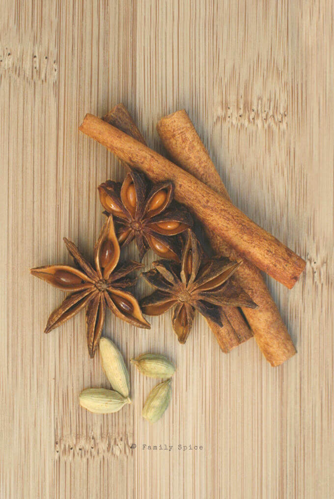 Cinnamon Sticks, Star of Anise and Cardamom Pods by FamilySpice.com