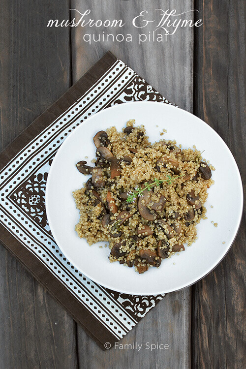 Mushroom and thyme quinoa pilaf by FamilySpice.com