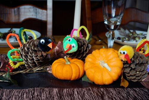 pumpkins and pinecone turkeys by FamilySpice.com