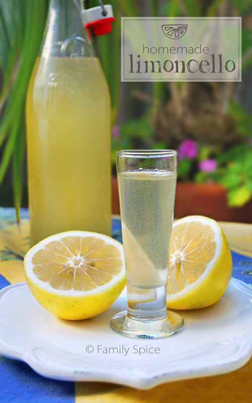 Homemade Limoncello is super easy to make. You can bottle it up to enjoy for yourself, or use small bottles and give as gifts. I include a free printable of my limoncello label for you to use. You can even use oranges to make Orangecello! -- FamilySpice.com