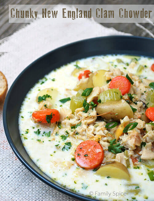 Chunky New England Clam Chowder by FamilySpice.com
