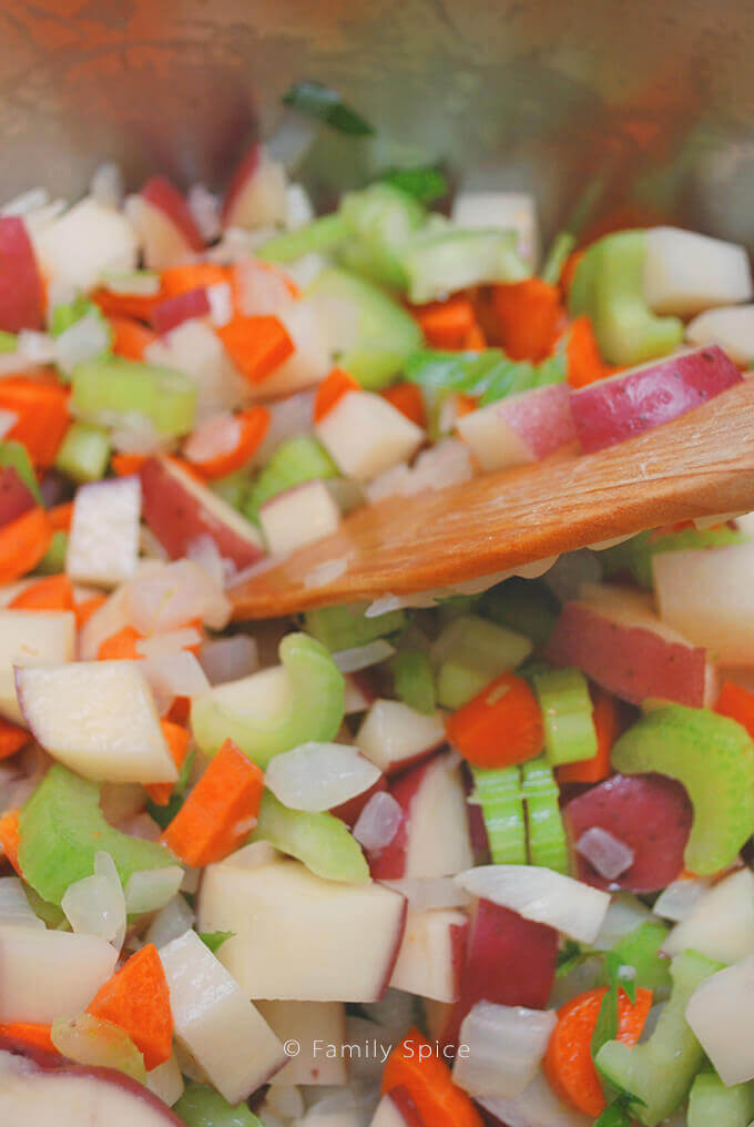 Satueeing Vegetables for Chunky New England Clam Chowder by FamilySpice.com