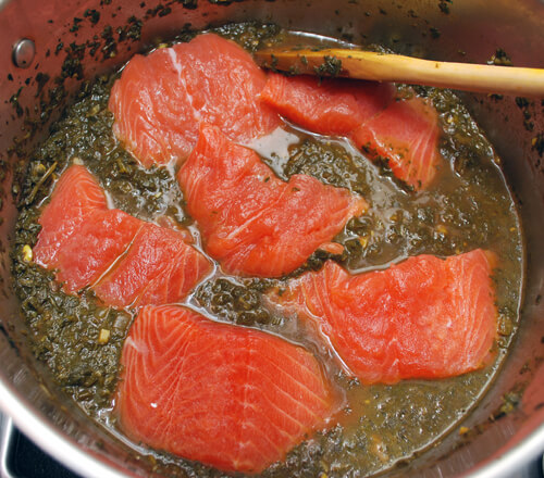 Prep for Salmon & Cilantro Stew (Ghalieh Mahi)