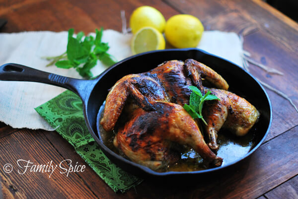 Spatchcocked Chicken with Mint & Garlic