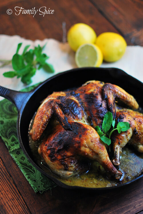 Spatchcocked Chicken with Mint &amp; Garlic