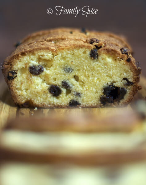 Saffron and Raisin Pound Cake by FamilySpice.com