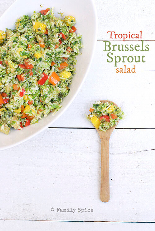 Brussels Sprout Salad with Mango and Feijoa by FamilySpice.com