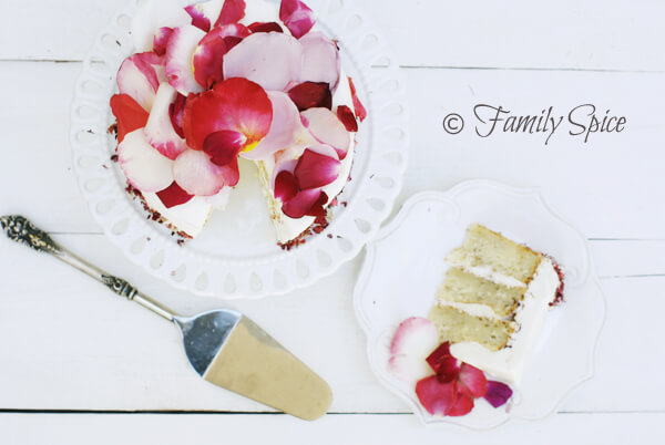 White Rose Cake with Edible Rose Petals