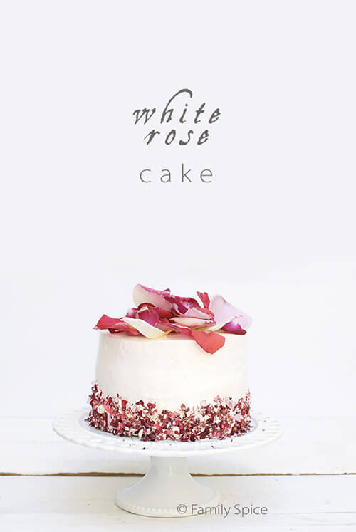 White Rose Cake with Edible Rose Petals by FamilySpice.com