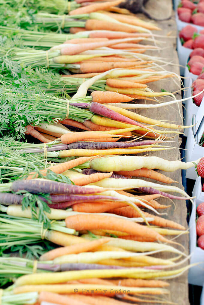 Heirloom carrots at the farmer's market by FamilySpice.com