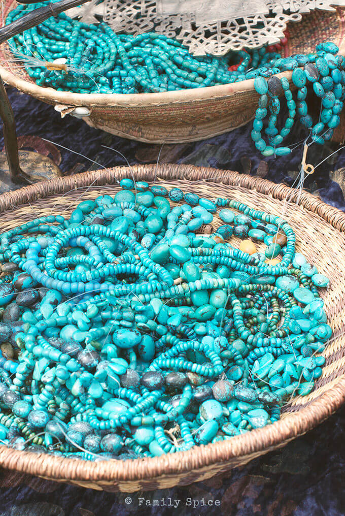 Turquoise beads and necklaces at the farmer's market by FamilySpice.com