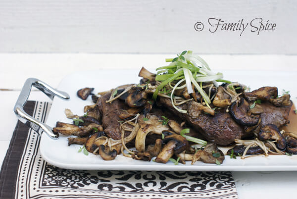 Easy Flank Steak with Garlic & Wild Mushrooms by FamilySpice.com