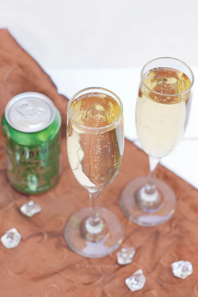 Ginger Ale in Champagne Flutes by FamilySpice.com