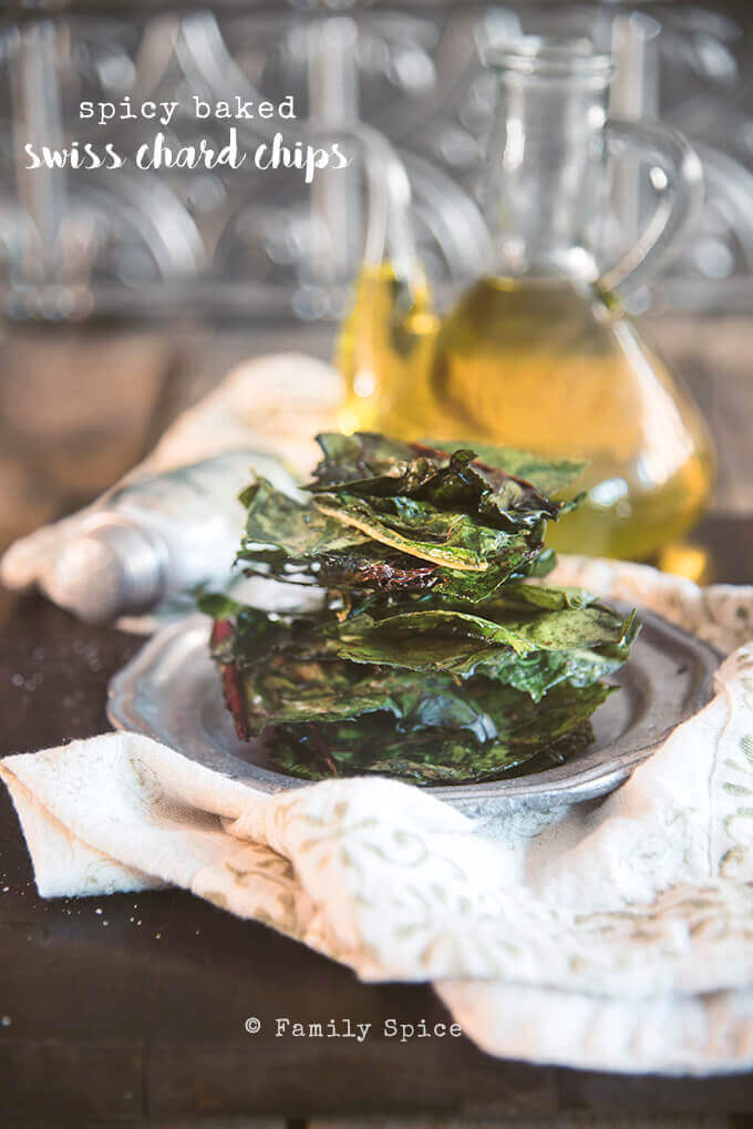 Baked Spicy Swiss Chard Chips by FamilySpice.com