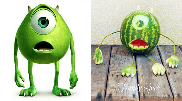 watermelon carving: Monster's Inc Mike Wazowski by FamilySpice.com