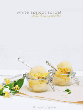 White Apricot Sorbet with Honeysuckle for #SundaySupper