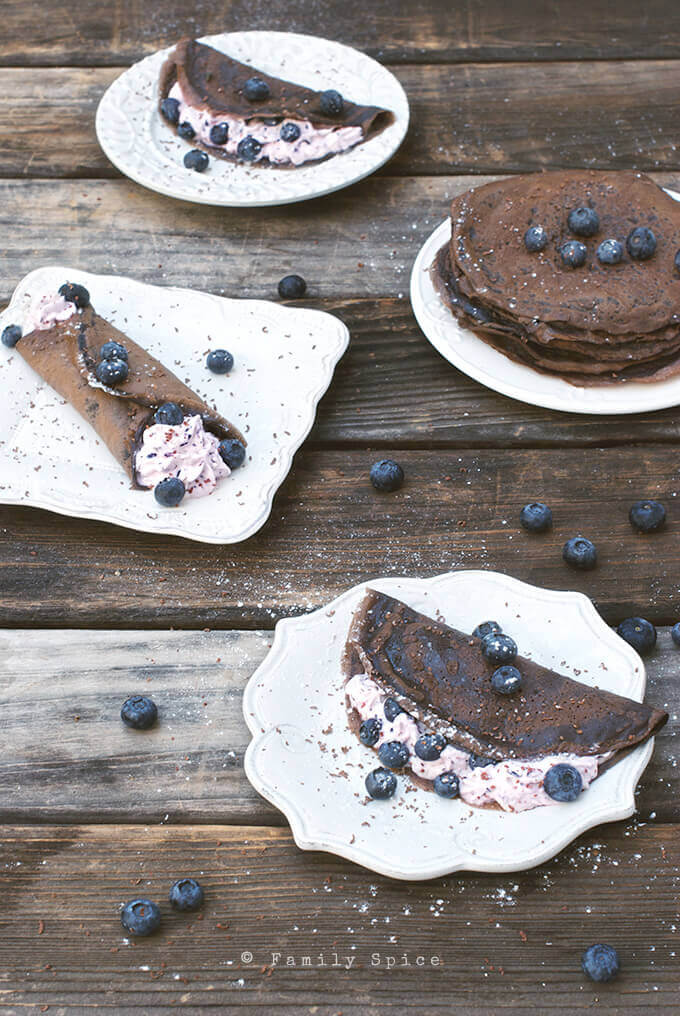 Dark Chocolate Crepes with Blueberry Cream by FamilySpice.com