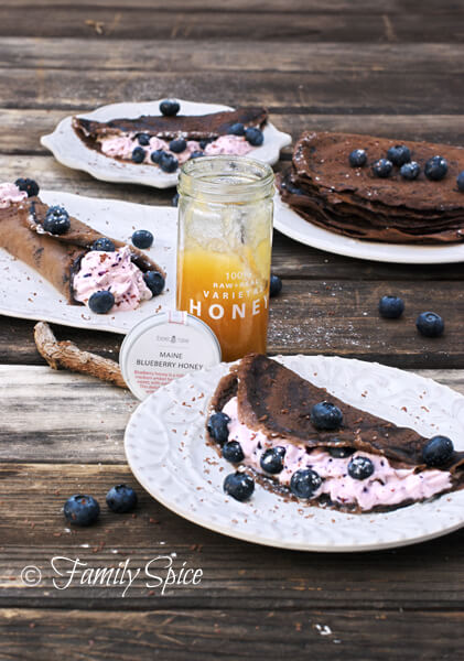 Dark Chocolate Crêpes with Blueberry Cream by FamilySpice.com