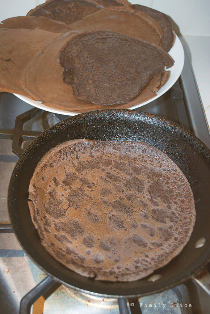 Making of Dark Chocolate Crepes with Blueberry Cream by FamilySpice.com