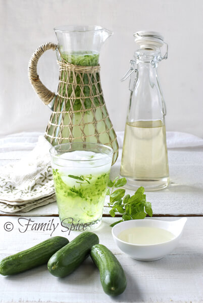 Persian Mint & Cucumber Cooler (Sekanjabin) by FamilySpice.com