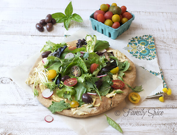 Back to School Meals: Whole Wheat Pizza with Hummus & Greens by FamilySpice.com
