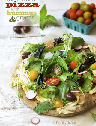 Back to School Meals: Whole Wheat Pizza with Hummus & Greens