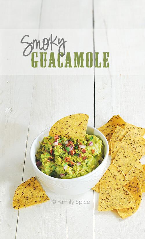 Football Eats: Smoky Guacamole with Bacon by FamilySpice.com