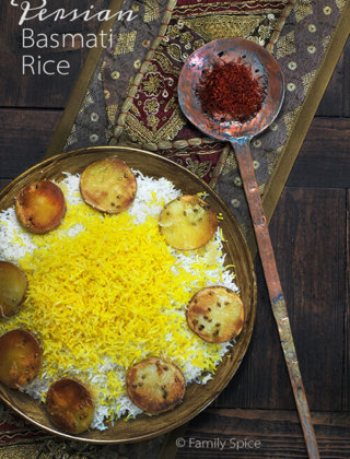 How to Make Persian Basmati Rice with Saffron and Potato Crust by FamilySpice.com