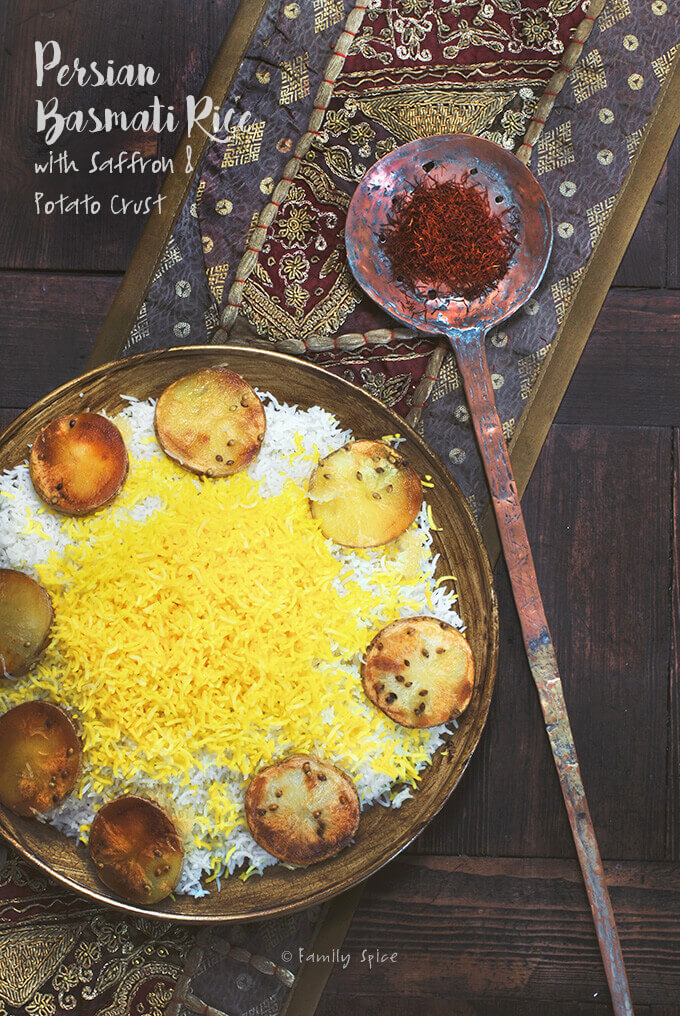 How to Make Persian Basmati Rice with Saffron and Potato Crust -- by FamilySpice.com