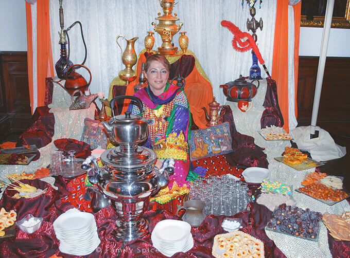 Serving Tea in a Traditional Samovar During a Persian Wedding by FamilySpice.com